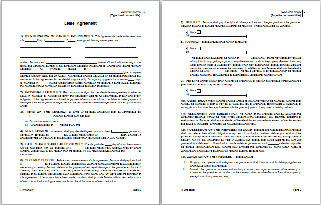 MS Word Lease Agreement Template – Rental Lease Agreement Template Word