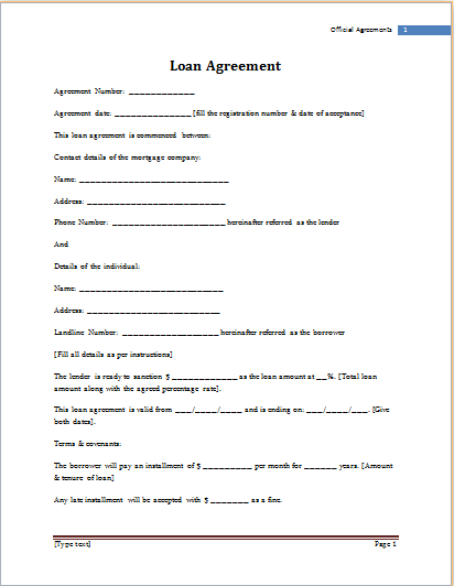 MS Word Loan Agreement Template – Short Term Loan Agreement Form