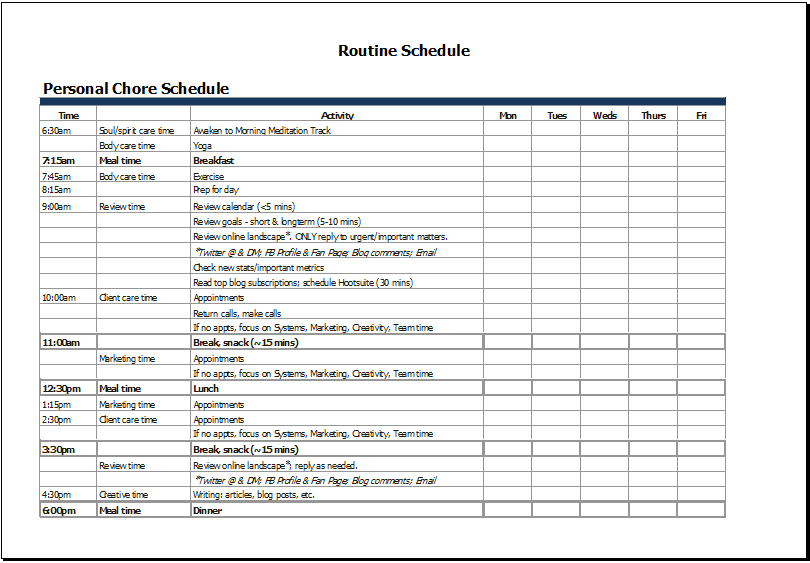 time scheduler template