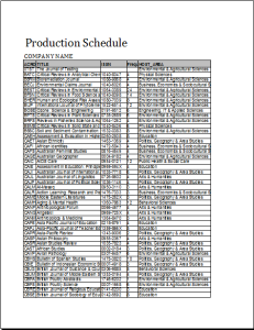formal production schedule template