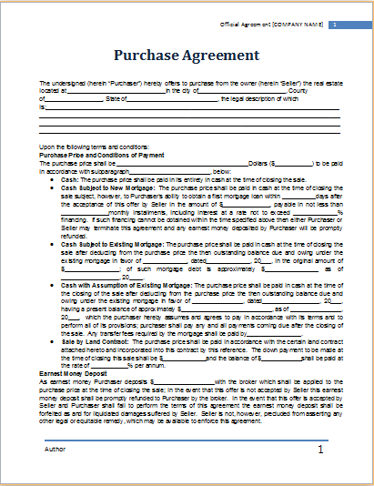 MS Word Purchase Agreement Template – Purchase Agreement Template