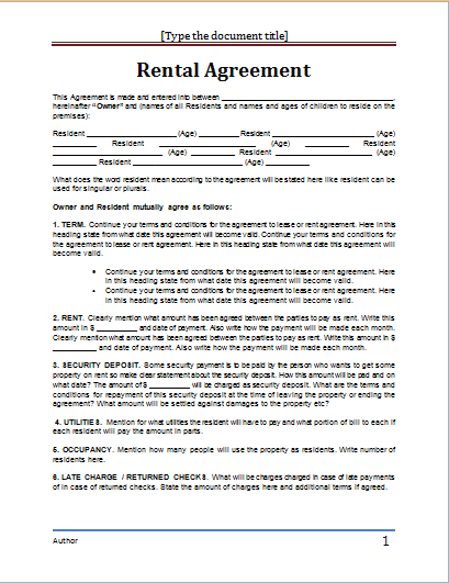 Apartment Rental Agreement Template Word Rental Agreement – Rental Lease Template Word