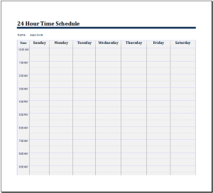 time schedule 24 hour