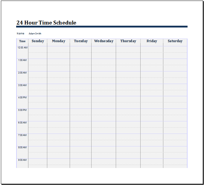 24 hour schedule template free