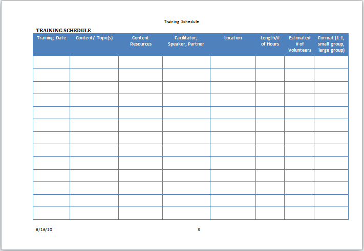 training schedule template Template – Training Calendar Template