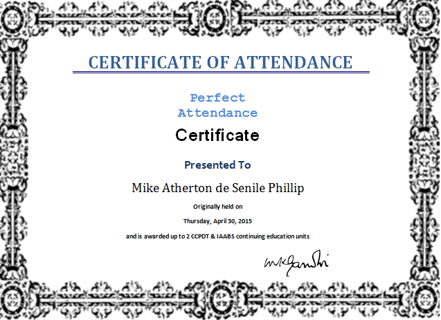 MS Word Perfect Attendance Certificate Template – Microsoft Word Award Template