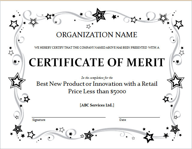 merit award certificate template – Award Templates Word