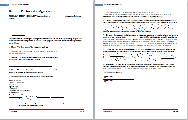 Partnership agreement template for ms word word document templates general partnership agreement template accmission Image collections