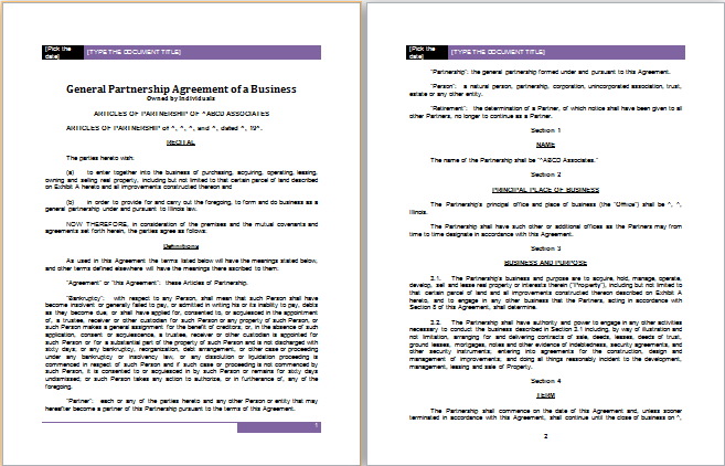 Partnership Agreement Template for MS Word – Partnership Agreement Between Two Individuals