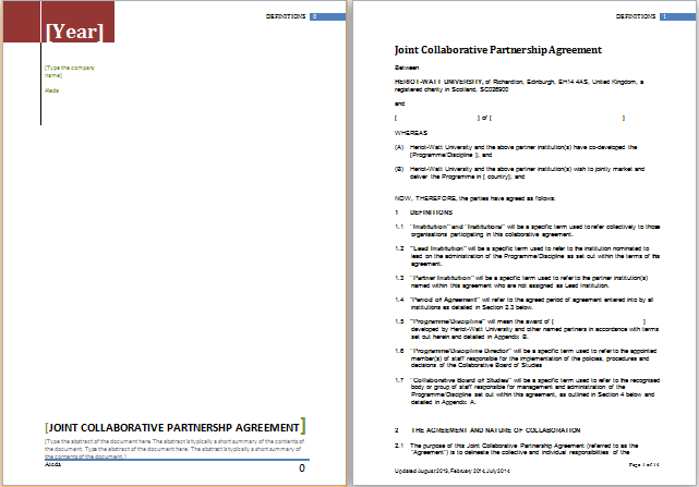Partnership Agreement Template for MS Word – Sample Partnership Agreement Form