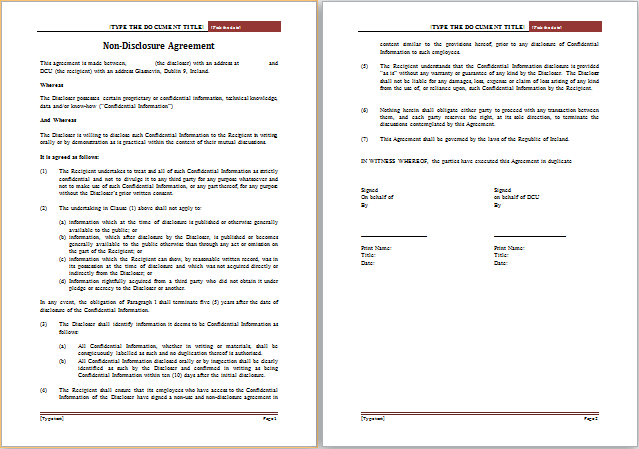 Editable Non Disclosure Agreement Template – Non Disclosure Agreement Word Document