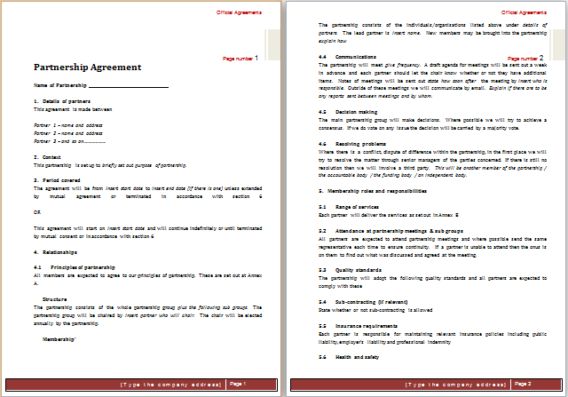 Partnership Agreement Template for MS Word – Contract Templates for Word