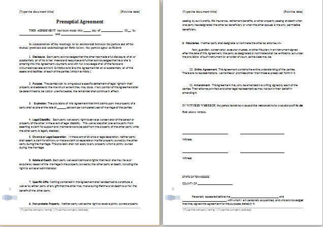 Prenuptial Agreement Template For Ms Word Word Document