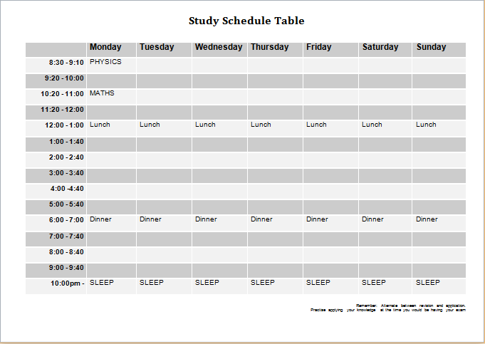 study schedule table template