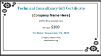 technical consultancy gift certificate template