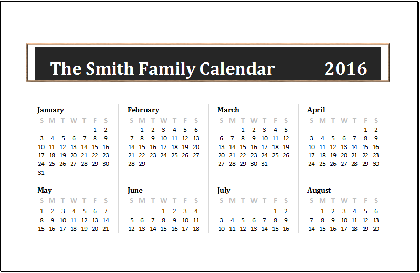 any year family calendar template