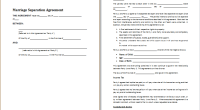 marriage separation agreement template