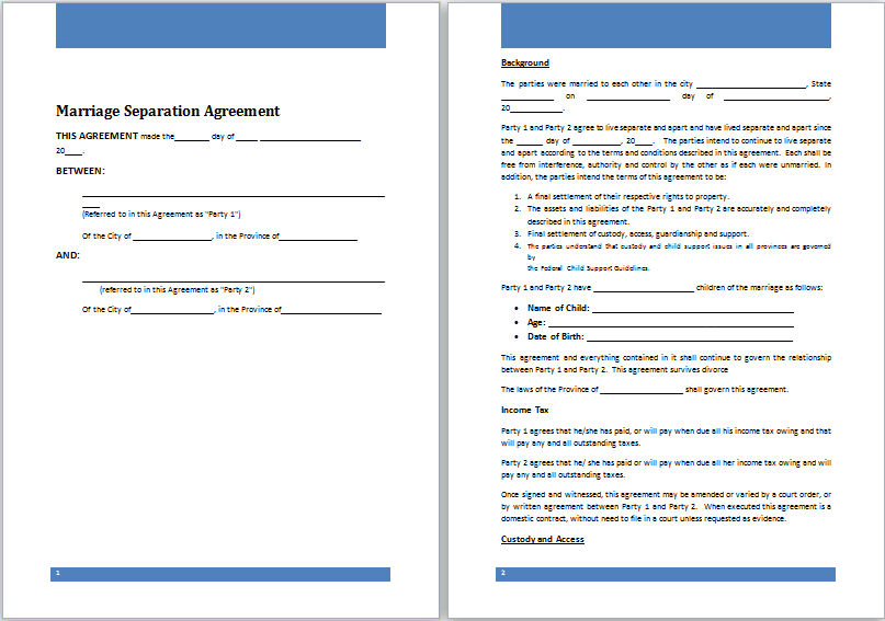 Ms Word Marriage Separation Agreement Template Word Document Templates