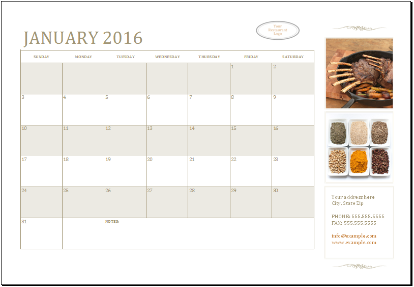 monthly calendar template for any year