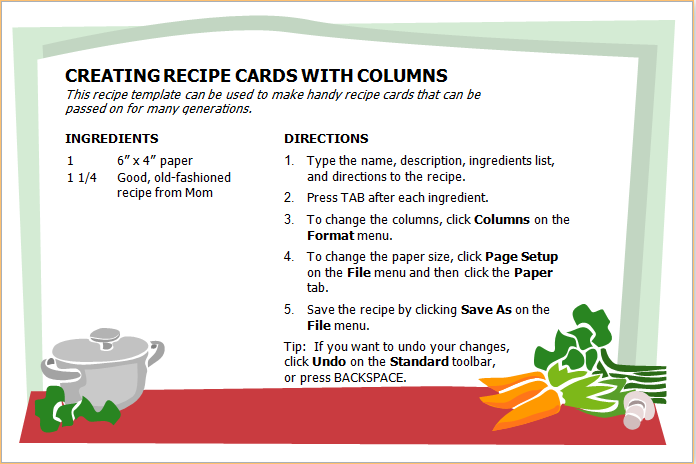 MS Word Recipe Book Sample Template | Word Document Templates