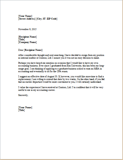 MS Word Formal Resignation Letter Template – Formal Resignation Letters
