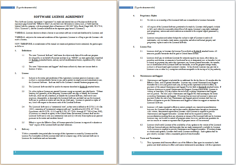 Software License Agreement Template
