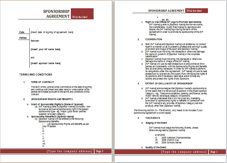Sponsorship Agreement Template MS Word – Sponsorship Agreement Template