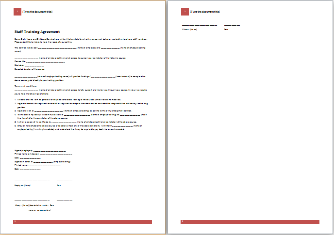 Staff Training Agreement Template