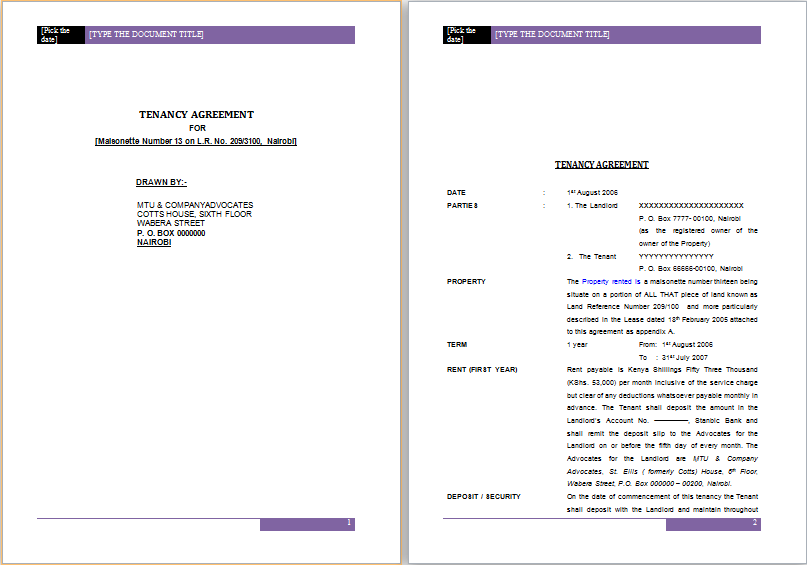 Doc830535 Tenancy Agreement Sample in Word Tenancy Contract – Lease Agreement Template in Word