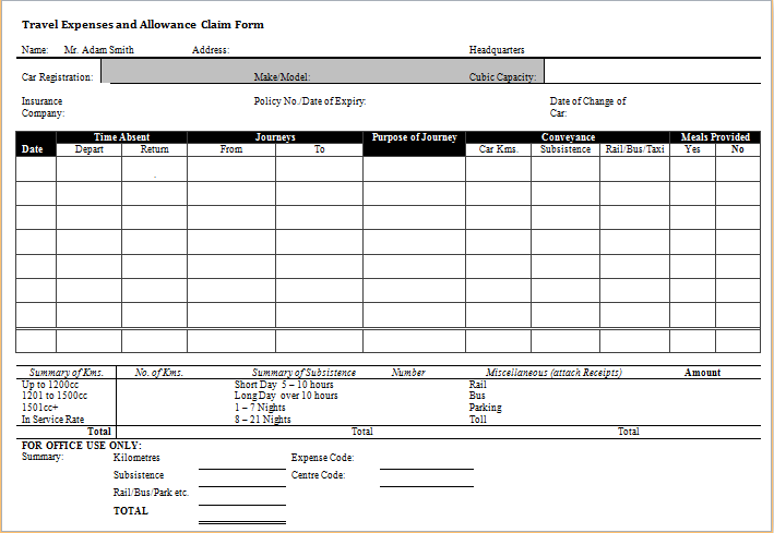travel expense and allowance claim form