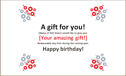 Birthday Gift Certificate Sample  Certificate Word
