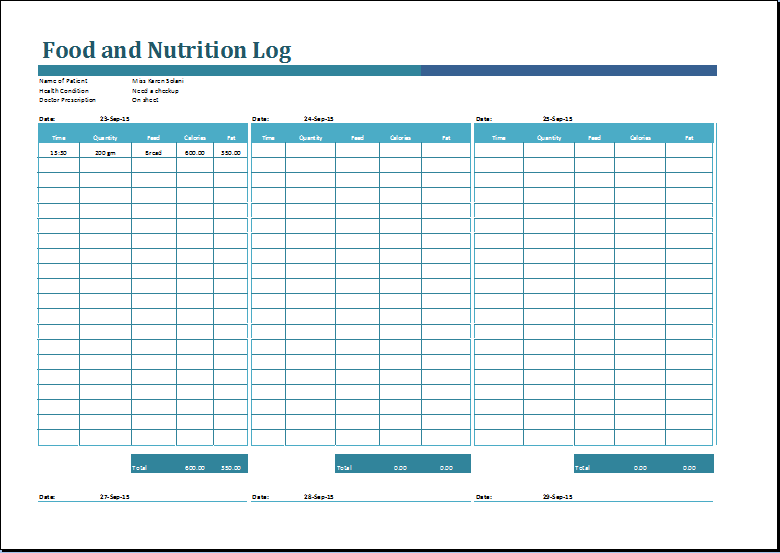 MS Excel Printable Food and Nutrition Log Template – 3 Day Food Diary Template