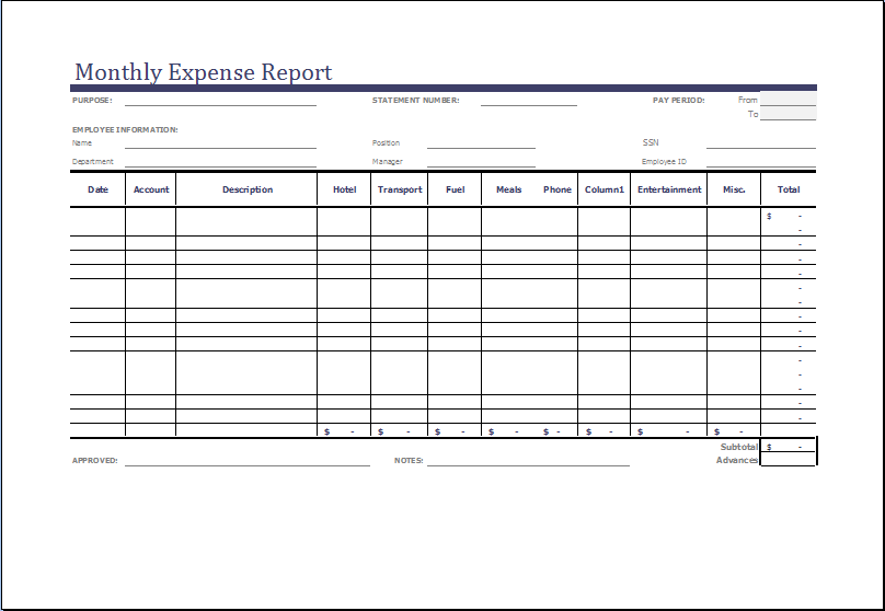 Monthly Expense Report Template MS Excel – Expense Report Templates