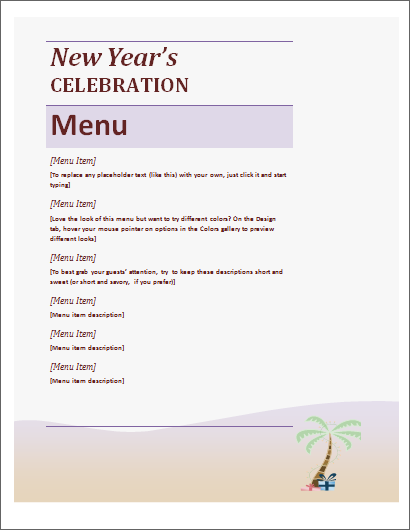 new year party menu sheet template