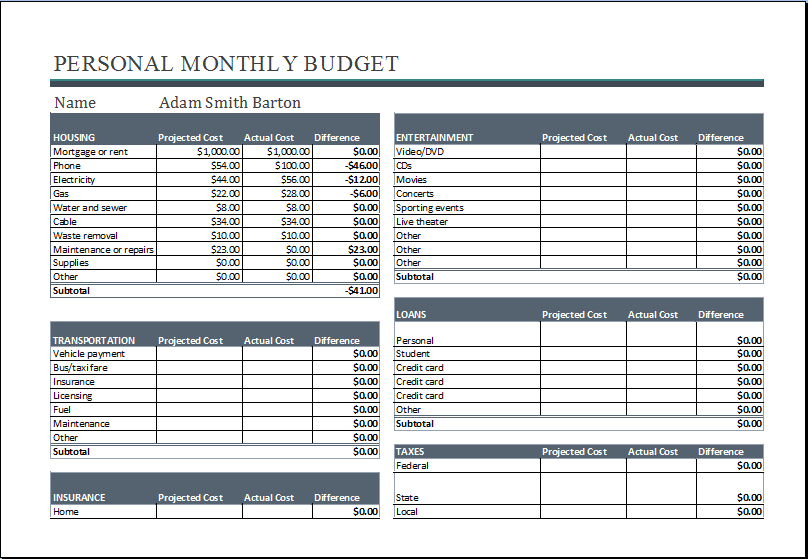 Personal Monthly Budget Worksheet MS Excel – Income and Expenses Worksheet