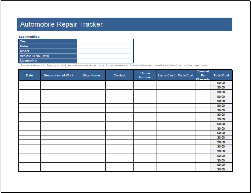automobile repair tracker editable ms excel template