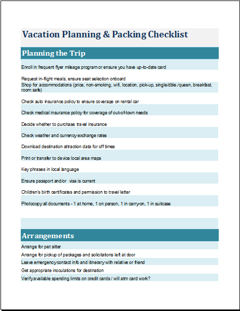 Vacation Planning Packing List Template For Ms Excel Word Document Templates