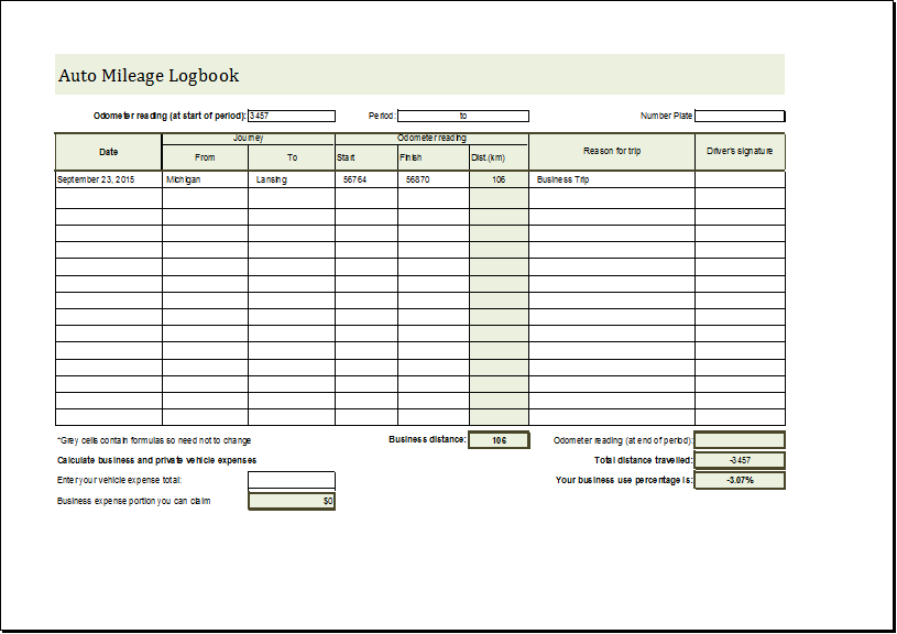 Auto Mileage Logbook Editable MS Excel Template | Word Document ...