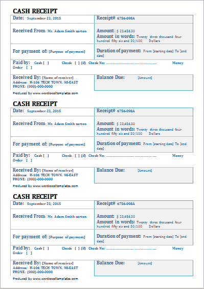 Business Cash Receipt Template for Word Word Document Templates