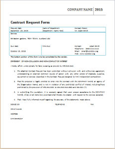 contract request form