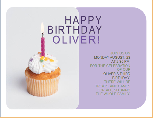 Happy Birthday Invitation Card Customizable Ms Word Word