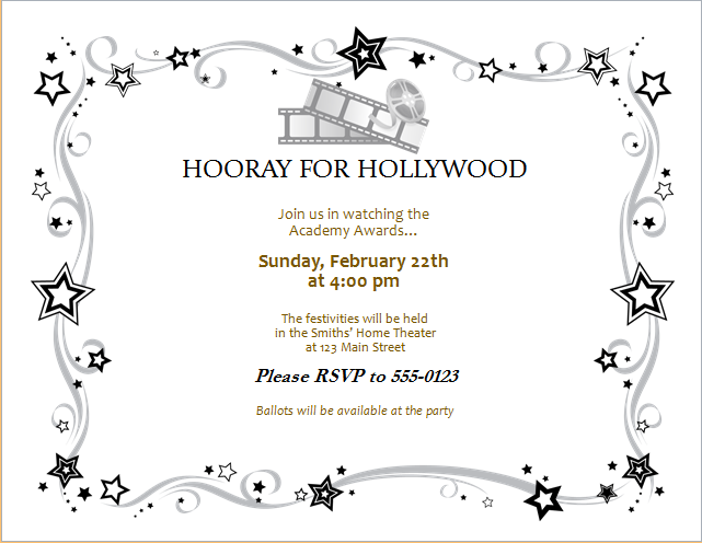 Movie Award Party Invitation Card Editable MS Word Template – Invitation Word Template