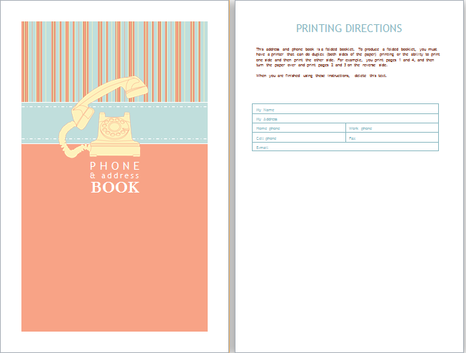 Phone and address book template word document templates for Electronic address book template