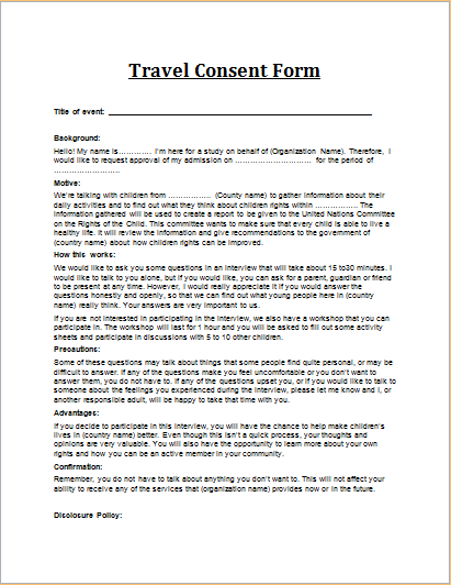 15 professional business form templates for word word document travel consent form altavistaventures Choice Image