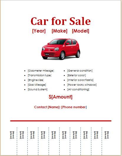 Car For Sale Flyer Template  Printable Car For Sale Sign Template