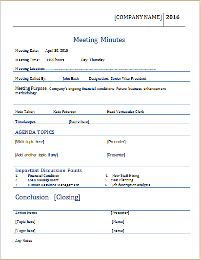 Meeting minutes template for ms word word document templates for Recording meeting minutes template