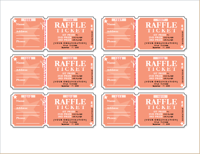 Raffle Ticket Templates for WORD Word Document Templates