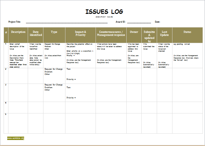 Issue log template for ms word word document templates for Project management issues log template