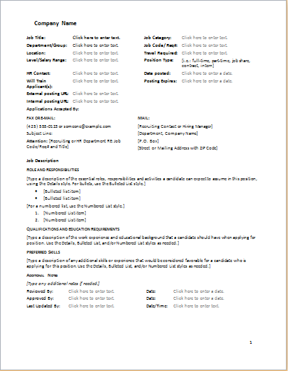 Job Description Form Template | Word Document Templates