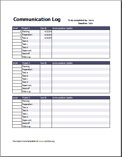 Project Communication Log Template – Communication Log Template